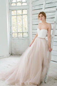 Sweetheart Strapless Lace Tulle Corset Wedding Dress With Sash