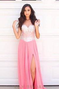 Sweetheart Strapless Lace-Up Back Chiffon Split Prom Dress With Beaded Bodice