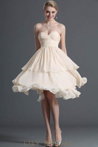 Sweetheart Strapless Layered Chiffon Cocktail Dress With Ruched Bodice