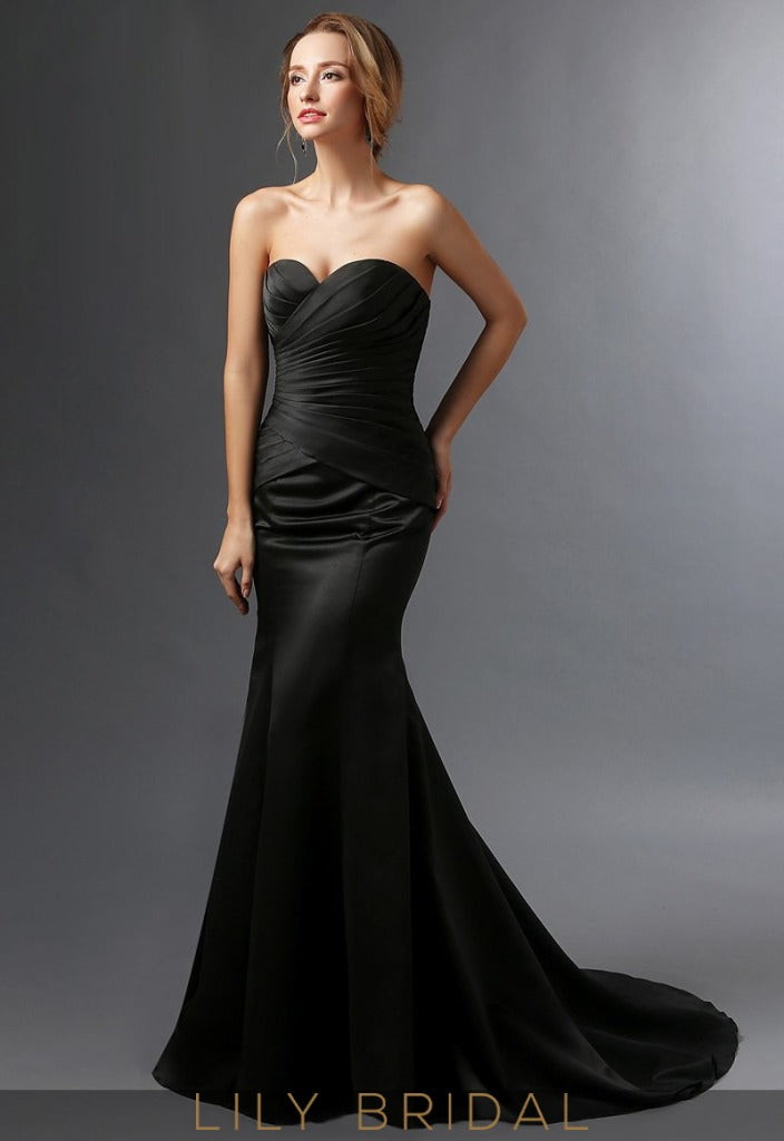 Black Satin Sweetheart Mermaid Mother of the Bride Dresses