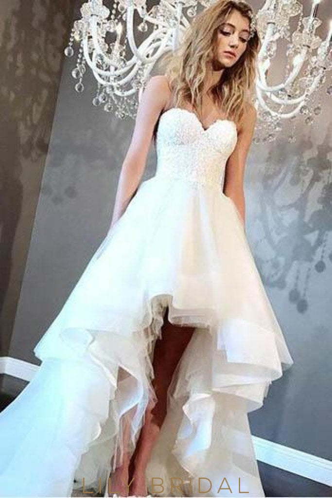 Sweetheart Strapless Organza High-Low Bridal Dress With Lace Bodice
