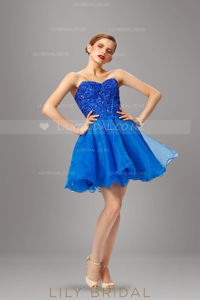 Sweetheart Strapless Royal Blue Organza Cocktail Dress With Rhinestone Beaded Bodice