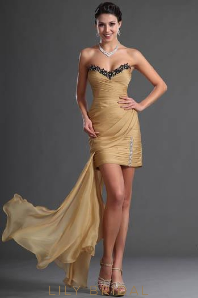 Sweetheart Strapless Ruched Asymmetrical Chiffon Evening Dress With Rhinestone
