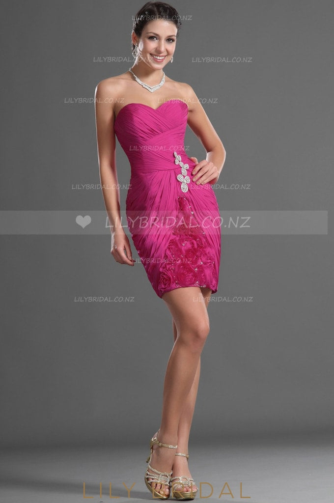 sweetheart-ruched-chiffon-cocktail-dress-with-beads