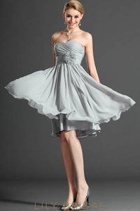 Sweetheart Strapless Ruched Chiffon Cocktail Dress With Corsage