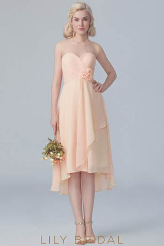 Sweetheart Strapless Ruched Chiffon High-Low Bridesmaid Dress With Hand-Made Flowers