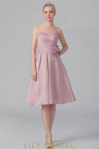 Sweetheart Strapless Ruched Satin Short Bridesmaid Dress With Corsage