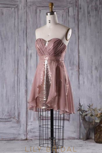 Sweetheart Strapless Sequin Chiffon Short Bridesmaid Dress
