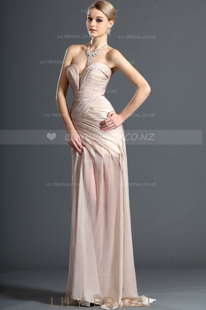 sweetheart-strapless-sexy-thigh-split-chiffon-evening-dress-with-ruching