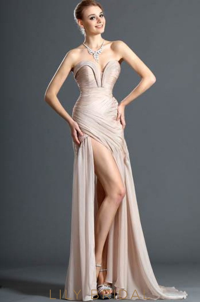 sweetheart-strapless-sexy-high-thigh-split-chiffon-evening-dress-with-ruching