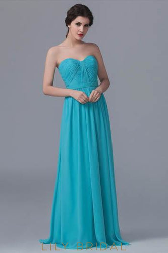 Sweetheart Strapless Sweep Train Chiffon Formal Bridesmaid Dress With Ruching
