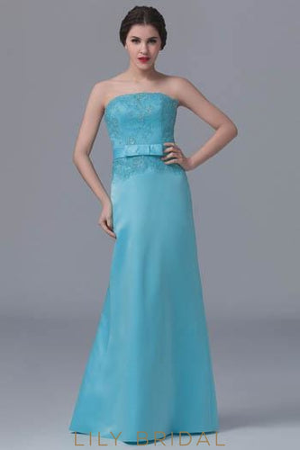 Taffeta Strapless Beaded Mermaid Bridesmaid Dress With Bowknot