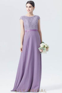 Tahiti Cap Sleeve Lace Chiffon Long Formal Bridesmaid Dress With Sash