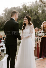 Lace Illusion Wedding Dress Scoop Neck Long Sleeves Two-Piece Long Bridal Dresses
