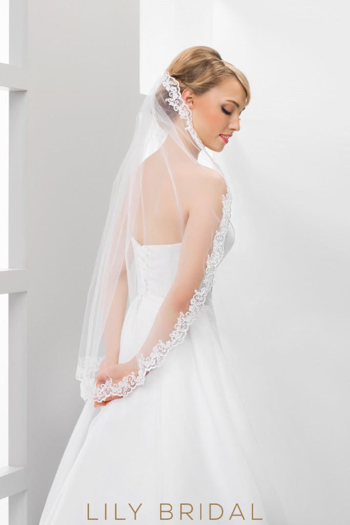 Timeless One Tier Waist Length Veil with Lace Applique Trim