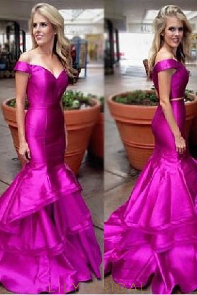 Trumpet Off-The-Shoulder Taffeta Prom Dress With Layered Skirt