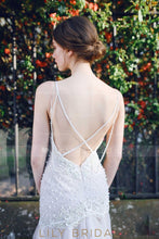 Trumpet Plunging V-Neck Backless Strap Tulle Bridal Dress With Beads