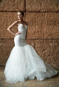 Trumpet Spaghetti Strap Sweetheart Neckline Tulle Bridal Dress With Lace
