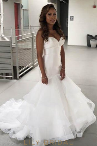Trumpet Strapless Sweetheart Court Train Bridal Dress With Layered Skirt