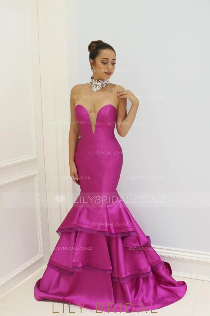 Trumpet Strapless Sweetheart Floor-Length Layered Taffeta Prom Dress