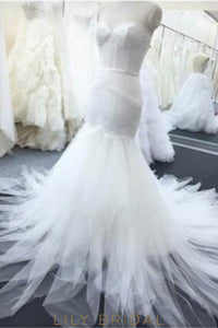 Trumpet Strapless Sweetheart Ivory Lace Tulle Bridal Dress