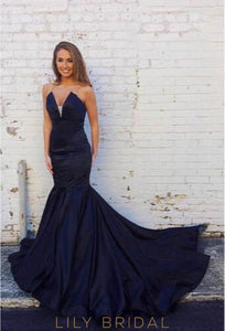 Trumpet Strapless V-Neck Taffeta Court Train Prom Dress
