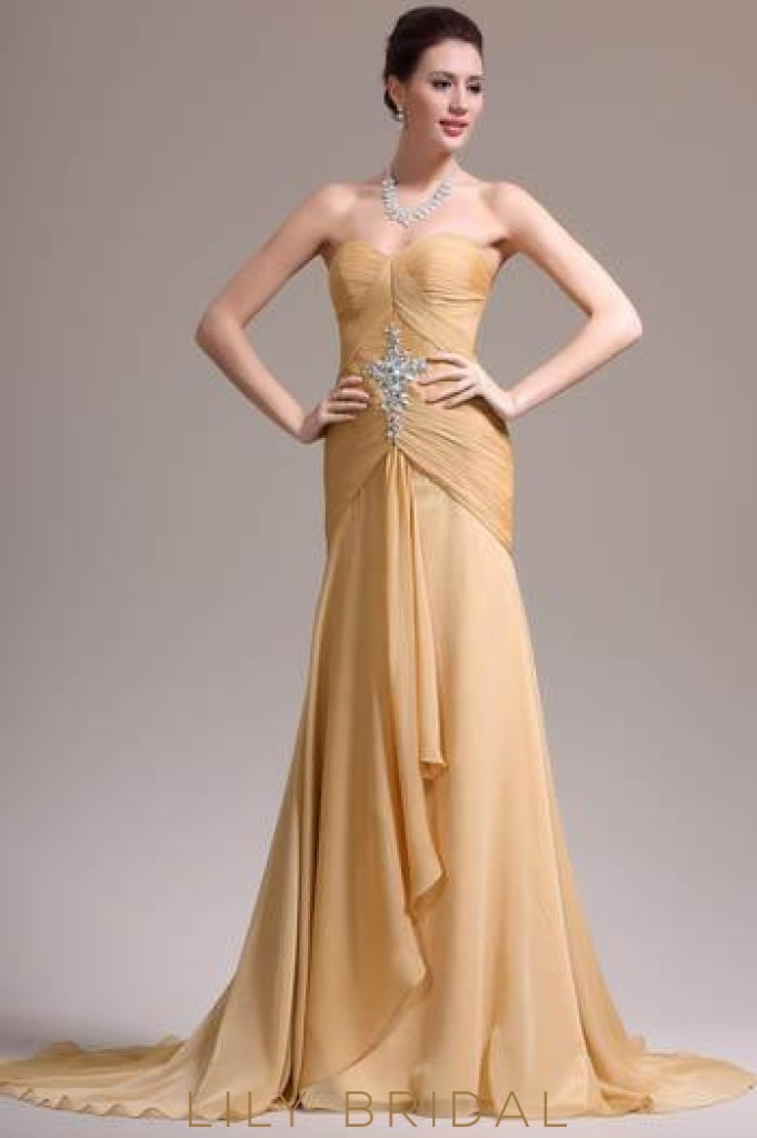 Trumpet Sweetheart Ruched Chiffon Overlap Evening Dress With Rhinestone