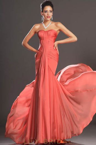 Trumpet Sweetheart Strapless Watermelon Chiffon Formal Evening Dress With Ruching