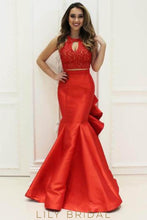 Trumpet Two-Piece Floor-Length Ruffled Taffeta Prom Dress With Lace Bodice