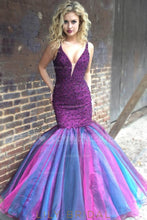 Trumpet V-Neck Floor-Length Organza Prom Dress With Beaded Top