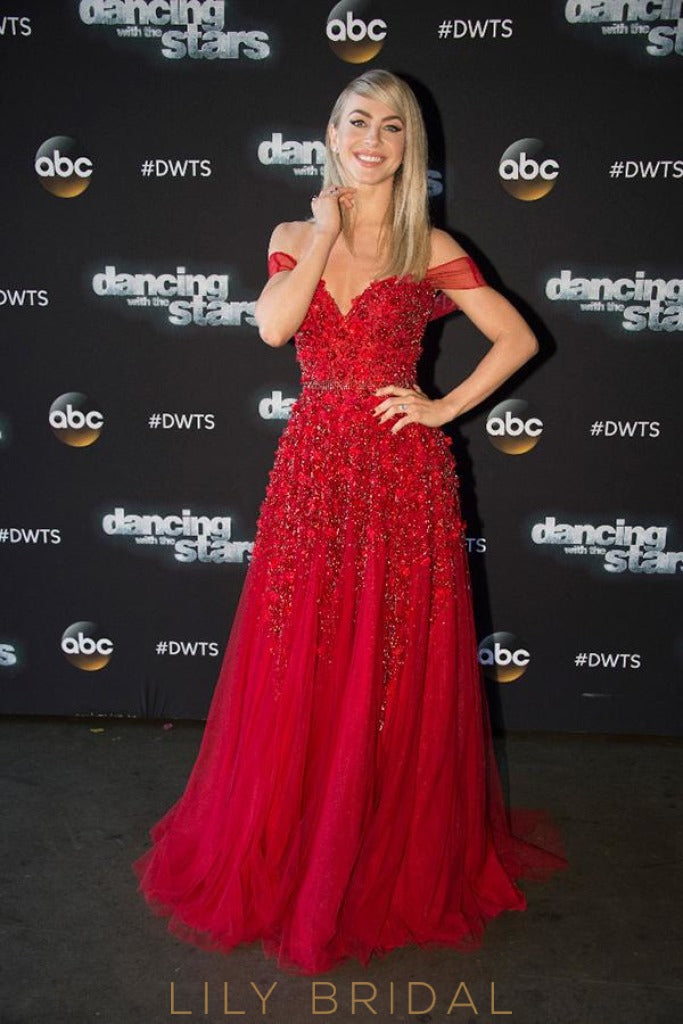 Tulle A-Line Off-the-Shoulder Red Beaded Long Prom Dress With 3D Flowers