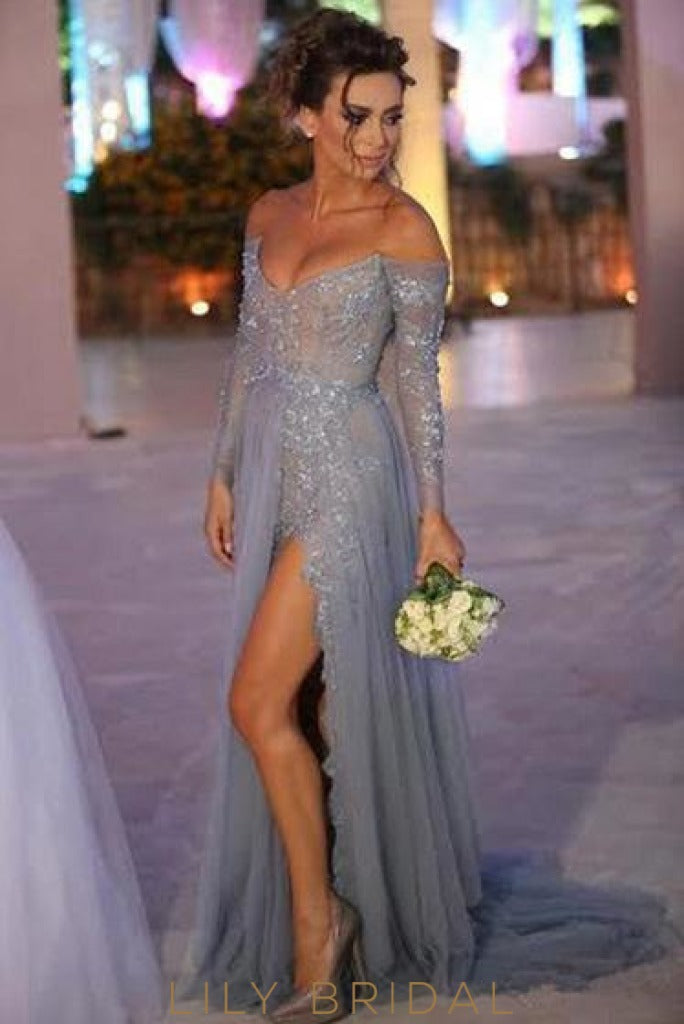 Tulle Off-The-Shoulder Long Sleeves Backless Split Beaded Prom Dress