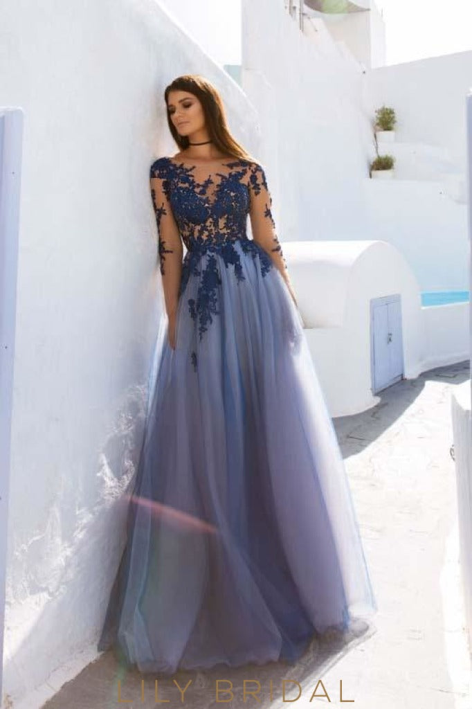 Tulle A-Line Scoop Appliqued Long Sleeves Dark Navy Prom Dress