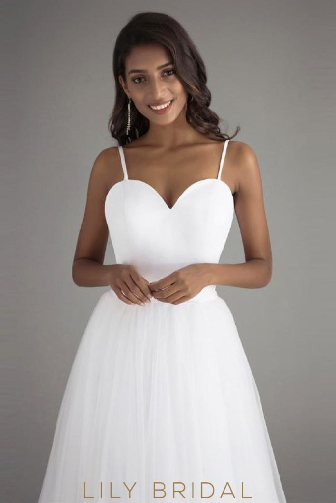 Tulle A-Line Sleeveless Sweetheart Spaghetti Straps Prom Dress