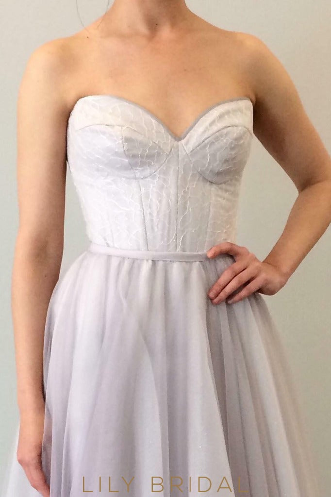 A-Line Wedding Dress with Strapless Sweetheart Neckline