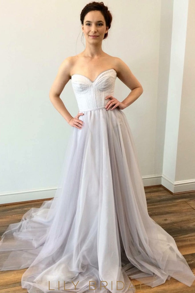 Tulle A-Line Wedding Dress Strapless Sweetheart Neckline
