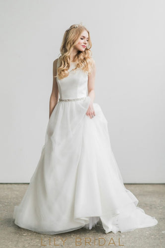 Tulle Bateau Neckline A-line Sleeveless Wedding Dress