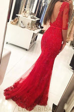 Red Bateau 1/2 Sleeve Illusion Lace Tulle Mermaid Prom Dress With Beading