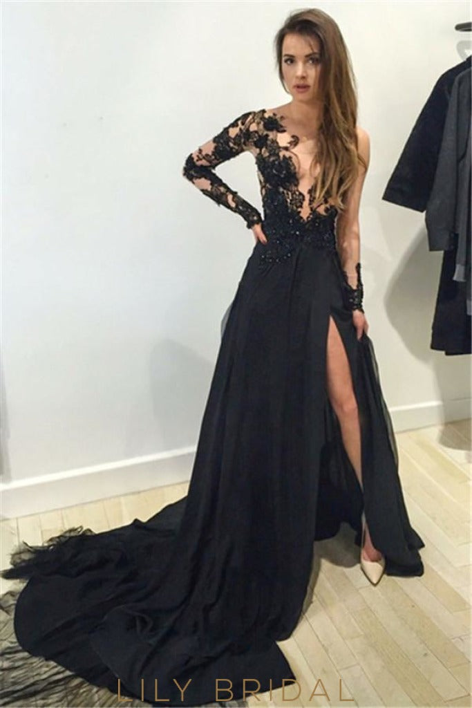 Scoop Long Sleeve Sheer Lace Chiffon Prom Dress With Slit