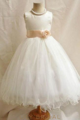 Tulle Jewel Neck Ivory Ball Gown Flower Girl Dress With Curly Hemline Dresses