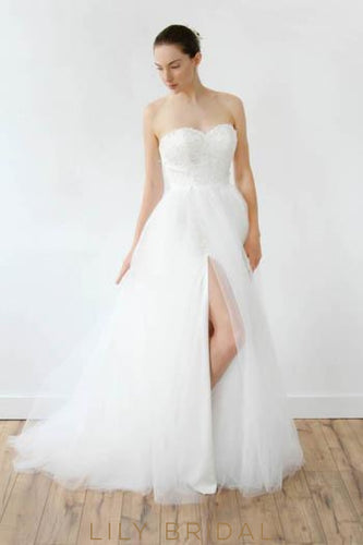 Tulle Lace Strapless Sweetheart Wedding Dress With Slit