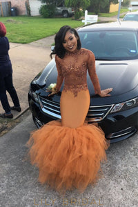 Tulle Long Sleeves High Neck Appliqued Orange Mermaid Prom Dress