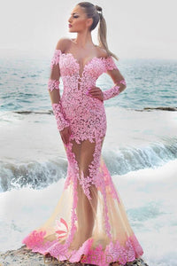 Off-The-Shoulder Long Sleeve Sheer Candy Pink Lace Mermaid Prom Dress