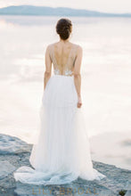 Tulle Long Wedding Dress Deep V-neckline Sleeveless Illusion V-Back Design