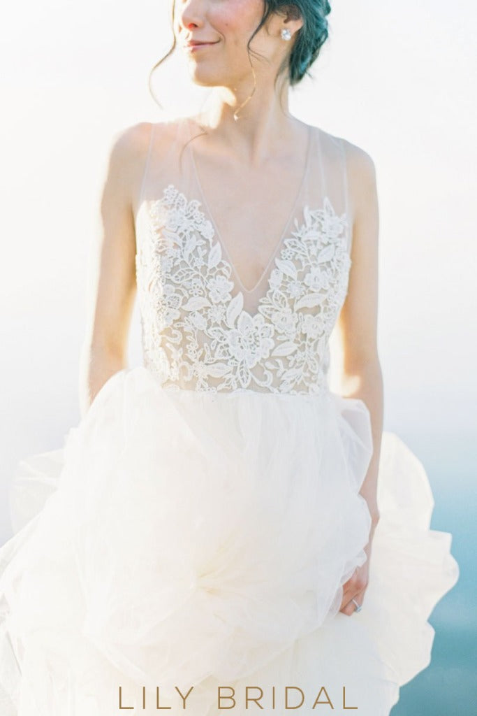 Tulle Long Wedding Dress with Deep V-neckline Sleeveless Illusion V-Back Design