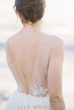 Tulle Long Wedding Dress with Deep V-neckline leeveless Illusion V-Back Design