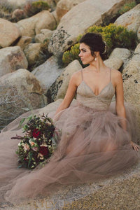 Tulle Mauve V-Neckline with Spaghetti Strap A-line Sleeveless Dress