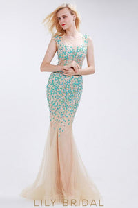 Tulle Mermaid Sleeveless Beaded Sheer Champagne Prom Dress