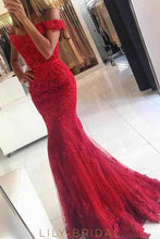 Mermaid Tulle Off-the-Shoulder Red Lace Tulle Sweep Train Prom Dress
