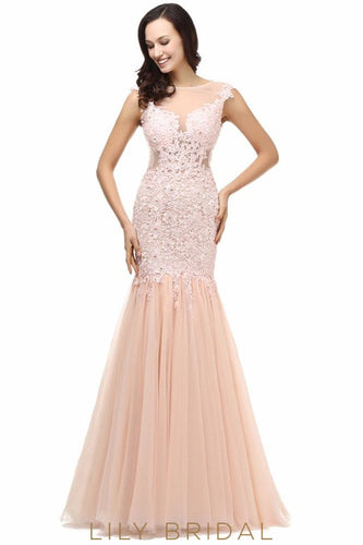 Mermaid Bateau Sleeveless Floor-Length Illusion Lace Tulle Prom Dress